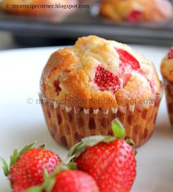Speciality Recipes From Mye Kitchen.: Strawberry Muffins Recipe