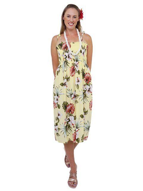 5f0944d815c Hibiscus   Monstera Yellow Rayon Hawaiian Elastic Strap Tube Midi Dress