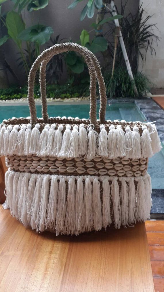Beach basket with tassel and shell trim