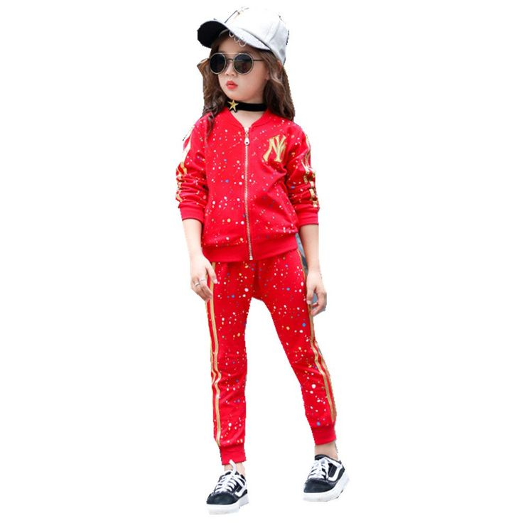 FTSUCQ Girls Zip Front Sports Tracksuits Striped Shirt Top + Pants,Red 110. Two-pieces pleuche sets, Suitable for 100CM-150CM height girls with age 3-11 Years old little and big girls. Color: black, red with star pattern your reference, including long sleeve shirt top and trousers. Material: cotton, cool and comfortable for girls. Suitable for dancing, sports, beach, seaside, holiday, indoor and outdoor, school, kindergarten, etc. 9-18 business days delivery to US by United States Postal...