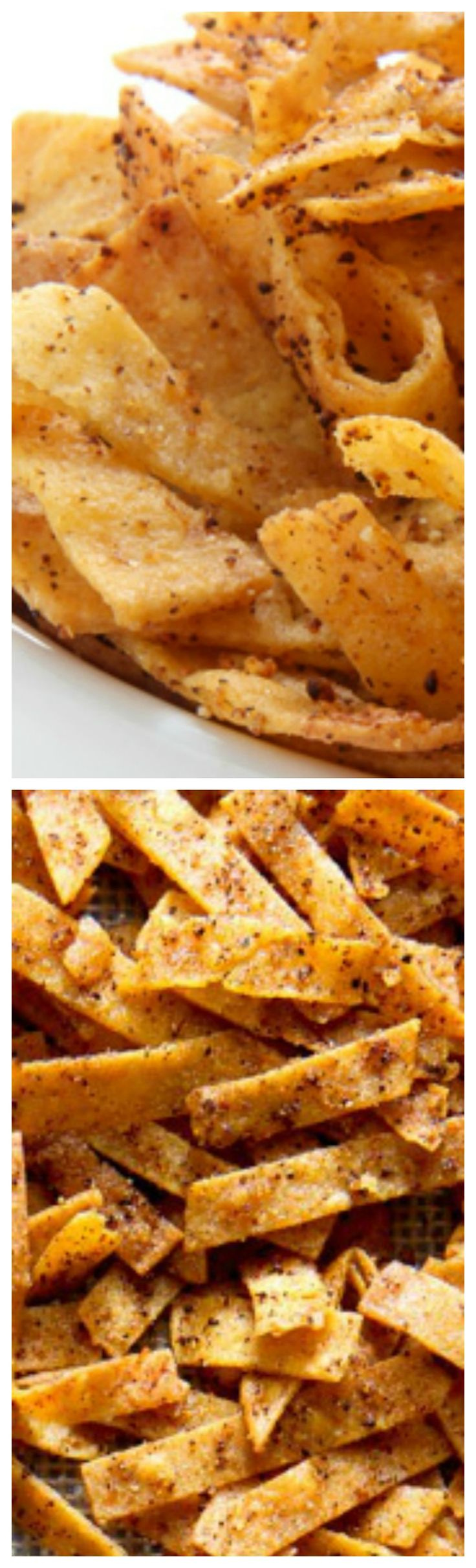Seasoned Baked Tortilla Strips ~ Crunchy homemade seasoned and baked tortilla strips recipe... A perfect topping for salads, soup and more!