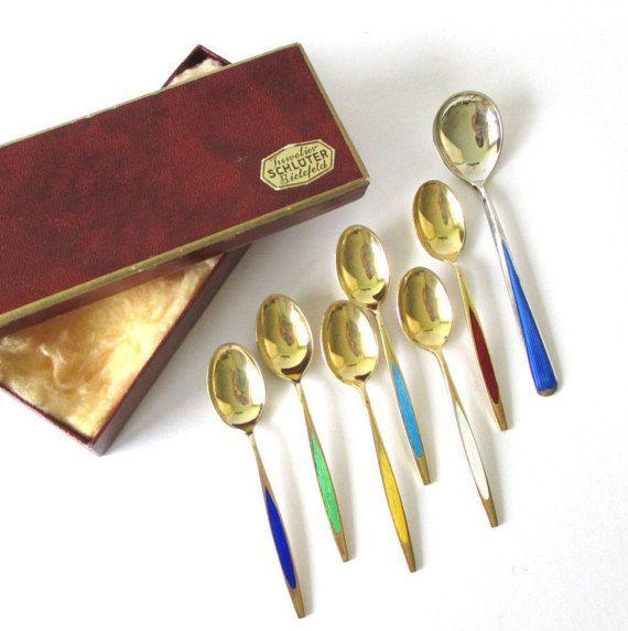 Midcentury Demitasse Spoons Vintage Enamel Tea Spoons -- Bespoke gift for coffee lover