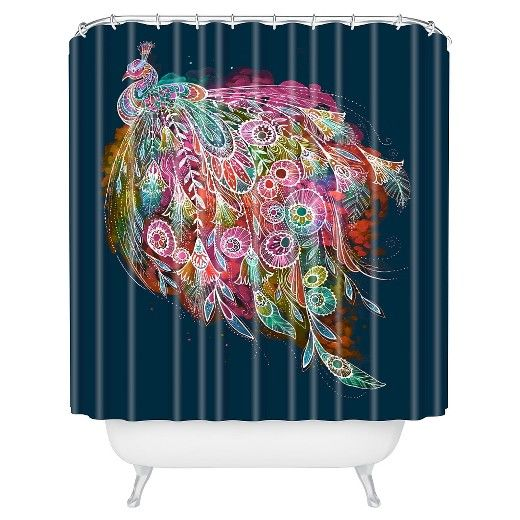 """Stephanie Corfee Corfee Tail Feather in Navy Shower Curtain by DENY Designs (71""""x74"""") : Target"""
