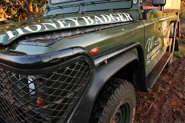 Our Land Rover, Honey Badger. Book your accommodation with a game drive at Ubizane, today!