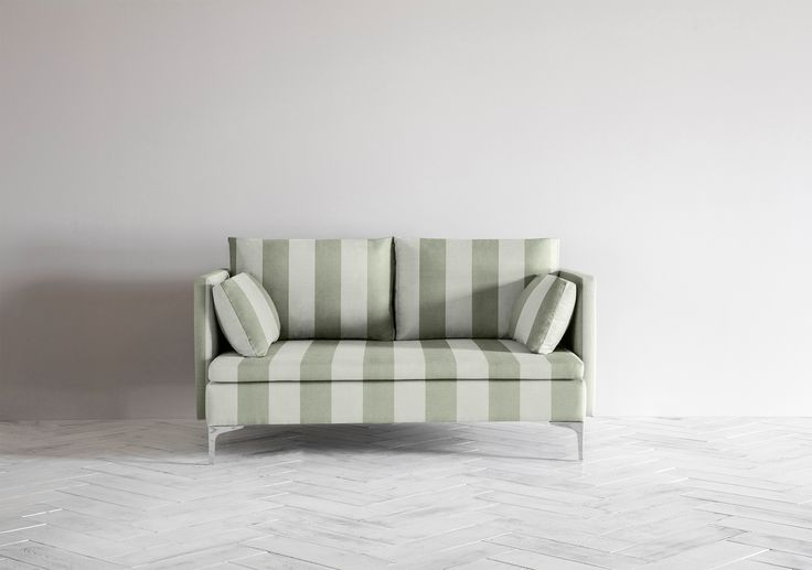 Paul 2 Seater Sofa in Parasol Stripe, Exminster by Perch & Parrow