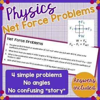51 best tpt high school physics products images on pinterest 4 simple net force problems newtons 2nd law physics fandeluxe Images