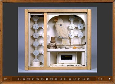 "One historical example of boxes that Sirc uses is the artwork of Joseph Cornell. Cornell, an American artist in the early 20th century, used found objects (mostly Victorian trinkets) from thrift stores to create scenes he placed within boxes. According to Sirc, Cornell's boxes make ""notions of articulate coherence, conventional organization, and extensive development seem irrelevant"" (115)."