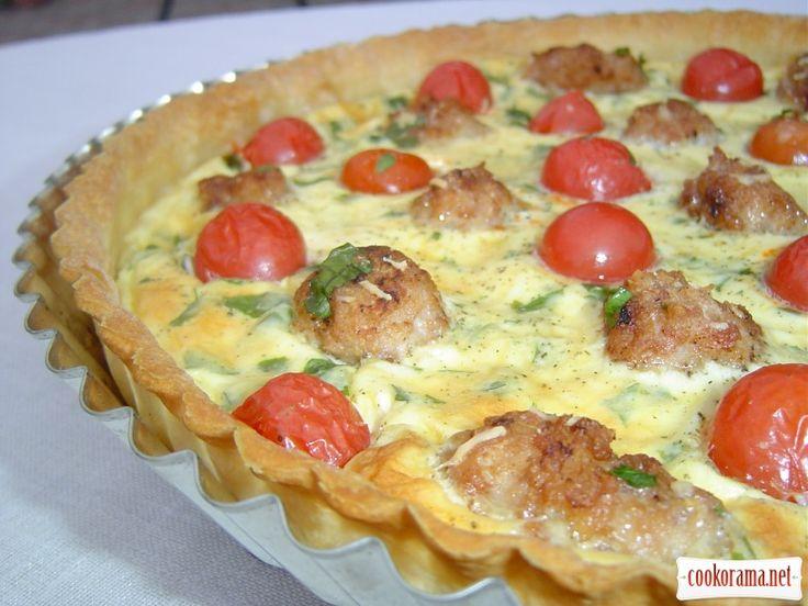 Киш с помидорами черри и мясными шариками / Пироги / Кукорама — вкусные рецепты!