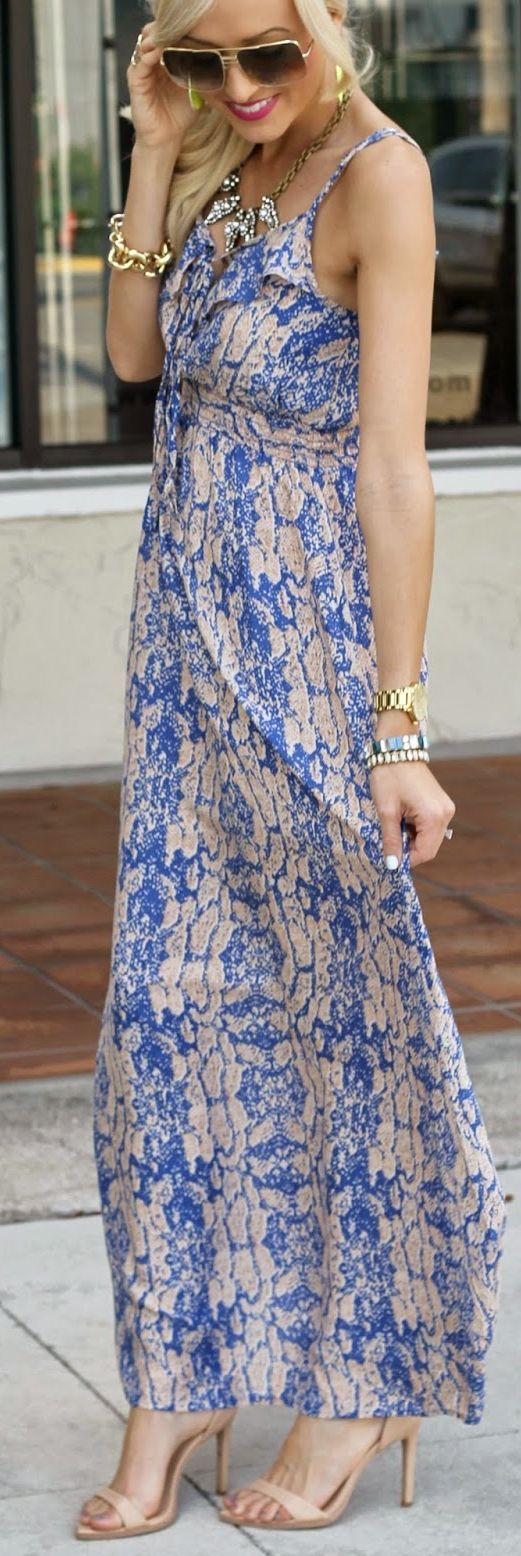Norka Blue Maxi Snake Print Dress by A spoonful of Style