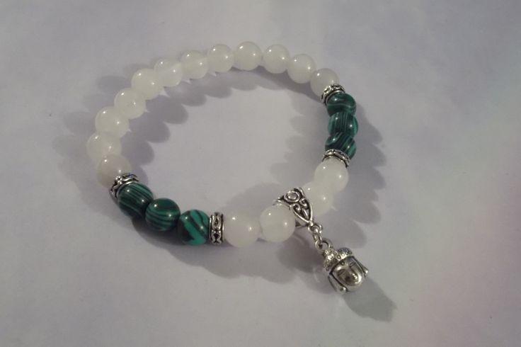 White Jade,Malachite Gemstone Buddha Charm Bracelet,Healing Bracelet-Stretch Bracelet,Yoga Bracelet by HealingAuras on Etsy