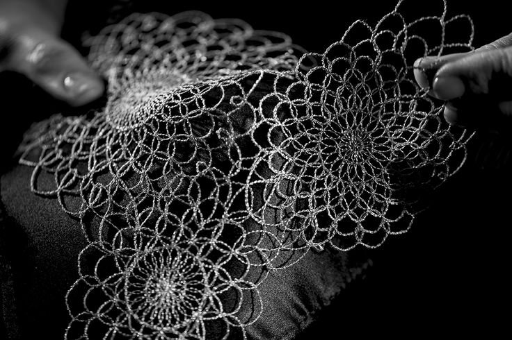 Close-up look at the macramé web of precious gold thread that creates the Made to Measure Filigrane collection.