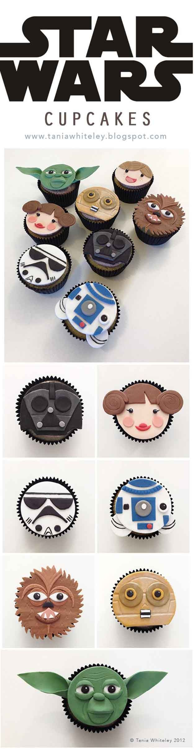Adorable Star Wars Cupcakes | DIY Star Wars Crafts to Celebrate Force Awakens Premiere, check it out at