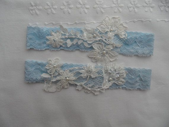 wedding garters, bridal garters, lace garters, bride, wedding accessory,pale blue, something blue on Etsy, $18.00