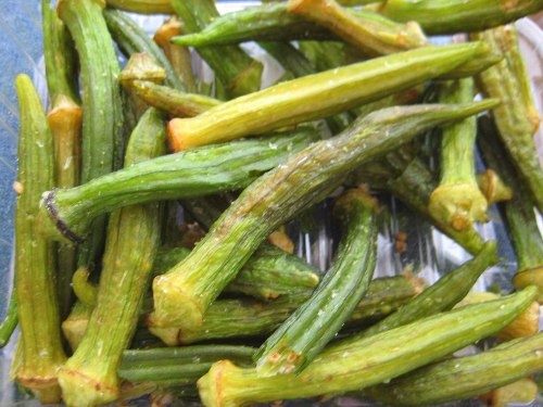 Dried okra chips.  They are like pure crack.