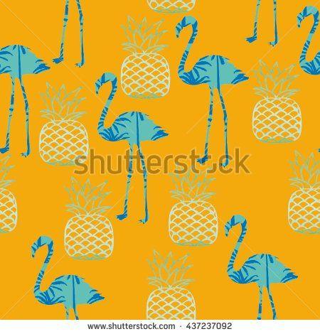 Фламинго и ананас векторные иллюстрации - векторного
