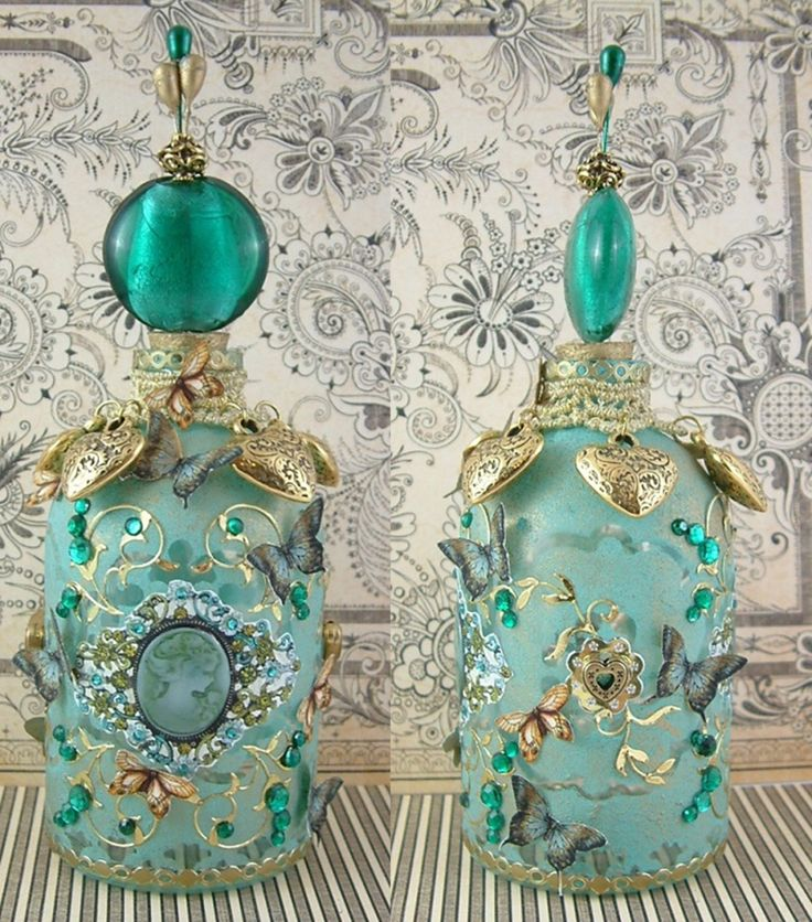 "Altered Bottles Using Gilders Paste and A Masking Technique - To see more of my art, download free images, and learn new techniques (like how to alter this bottle) checkout my Blog ""Artfully Musing"" at http://artfullymusing.blogspot.com"