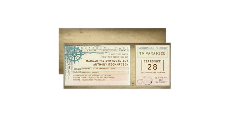 Vintage boarding pass save the date design.   ------------Please contact me if you need help with customization or have a custom color request. ---------- If you push CUSTOMIZE IT button you will be able to change the font style, color, size, move it etc. it will give you more options!