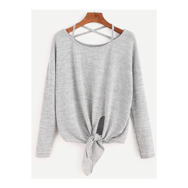 SheIn(sheinside) Heather Grey Drop Shoulder Criss Cross Tie Front... ($14) ❤ liked on Polyvore featuring tops, t-shirts, shirts, grey, long sleeve tees, long sleeve grey t shirt, heather grey tee, grey t shirt and long sleeve stretch t shirt