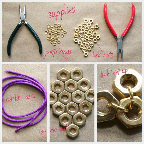 DIY Hex Nut Jewelry #diy #doityourself #howto #diyrefashion