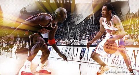 Made an edit of this picture of Two of the  basketball G.O.A.T. Two basketball gods. Two icons. Two poster boys. My personal 1 & 2 top players of all-time.  @jumpman23 @theofficialai3  #basketballicons #GOAT #basketball #basketballgods #ballislife #G1ve #hooplife #NBA #ChicagoBulls #philadelphia76ers #chicago #philly #bulls #76ers #michaeljordan #alleniverson #MJ #AI #HisAirness #TheAnswer #Nike #Reebok #Jordan12 #Question