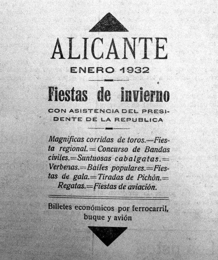 Antigues Festes d'Hivern.  De l'any que el President de la República  Niceto Alcalá Zamora va visitar Alacant i va inaugurar el Palau Provincial de la Diputació.  Va ser la primera vegada que es va disparar una palmera de focs artificials des del Benacantil, idea que posteriorment van adaptar Les Fogueres.