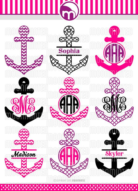 Nautical Anchor SVG Cut Files - Monogram Frames for Vinyl Cutters, Screen Printing, Silhouette, Die Cut Machines, & More