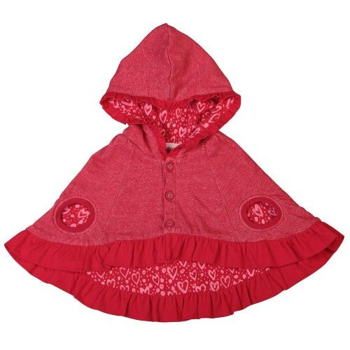 gorgeous, gorgeous, gorgeous!red marle hooded poncho lined in painted hearts fabric, with frills on the hood and hemlinefor a complete look, match it with other styles from little wings but it will also add a high level of cuteness to any outfit  $59.95