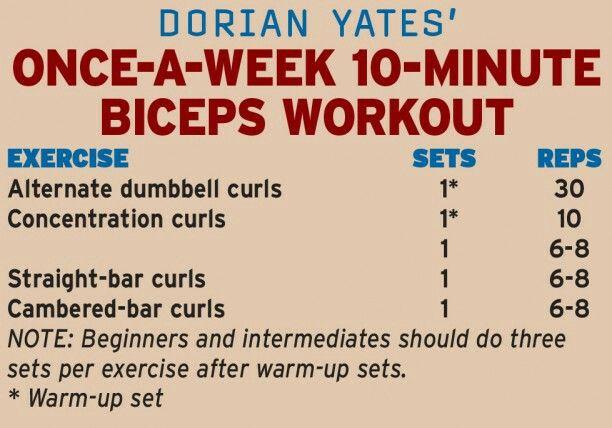 Dorian Yates 10 mins biceps workout once-a-week