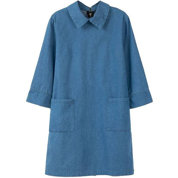 Three-quarter-sleeved Twin-pockets Denim Dress ($42) ❤ liked on Polyvore featuring dresses, shift dress, shift dresses, 3/4 sleeve dresses, 3 4 length sleeve dress, 3 4 sleeve shift dress and denim dress