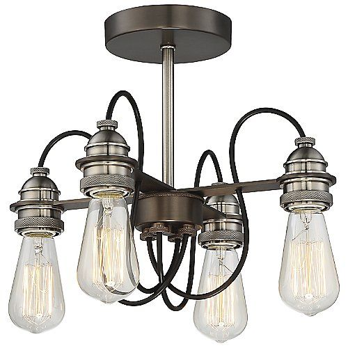 Uptown Edison Convertible 4-Light Chandelier by Minka-Lavery at Lumens.com