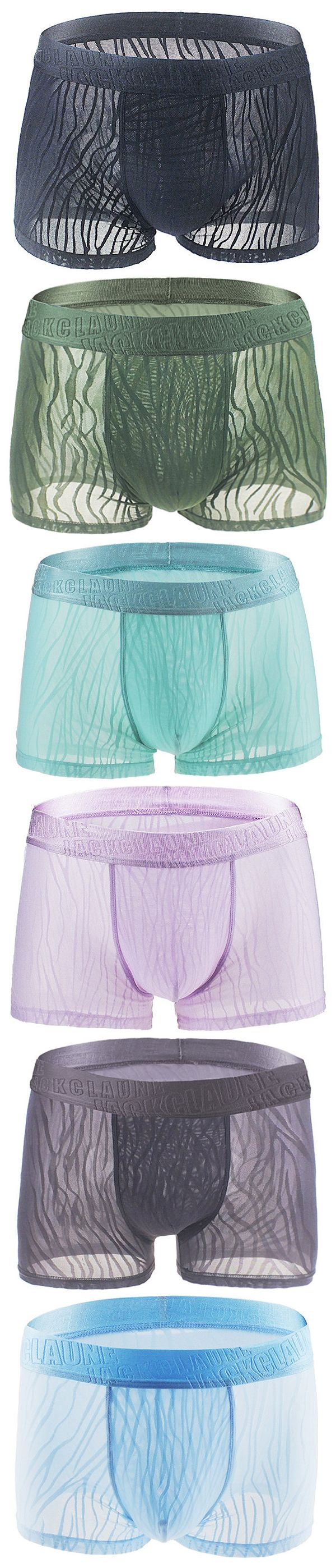 Sexy Thin Ice Silk Breathable Hollow Lace Transparent Boxer Briefs for Men