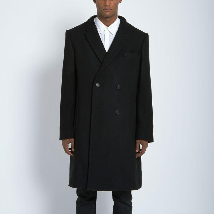Public School Double Breasted Overcoat in Black/Navy | Atrium