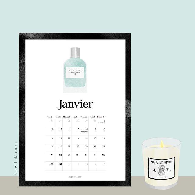 La Paillette - Blog Rennes - Claire, illustratrice et graphiste rennaise, bonnes adresses: Calendrier Janvier & fond d'écran organisé parfum bottega veneta astier de villatte bougie mint blue