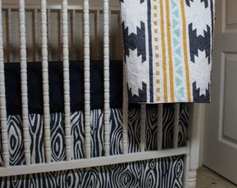 Baby bedding, Crib skirt with navy wood grain fabric,  Navy Crib Sheet,  Aztec baby blanket, southwestern baby blanket, modern baby bedding