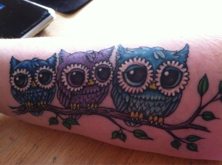 This is so similar to my owl tattoo except I have one owl instead of three and it's on my ankle! Sort of wish I had thought of this first #Georgia