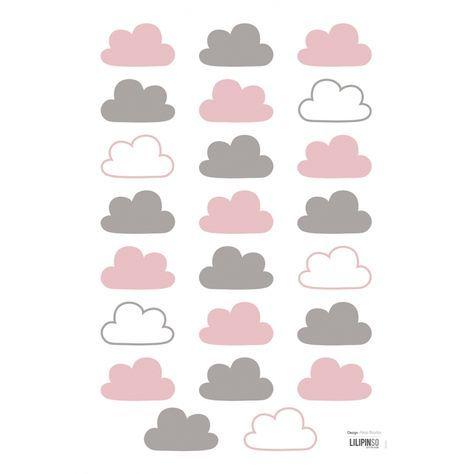Kinderzimmer Wandtattoo 'Wolken' rosa/grau 23-teilig