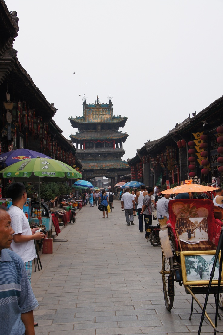 Pingyao, een stad met een ommuurde autovrij centrum, China
