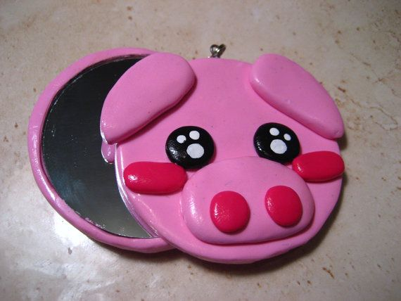 Kawaii Pig Compact Mirror polymer clay charm/ by SweetieAndTheBean, Kacey would love this! @Jennifer de Alminana