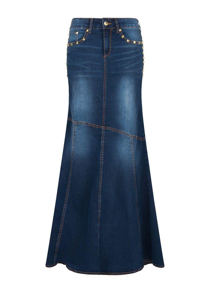 #falda #larga #denim #tachuelas @MANGO 49,99€