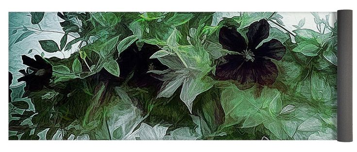 """Clematis On The Vine Yoga Mat by Leslie Montgomery.  This yoga mat is 24"""" x 72"""" in size and made from eco-friendly PVC.  It comes with black carrying bag and a 30-day money-back guarantee."""