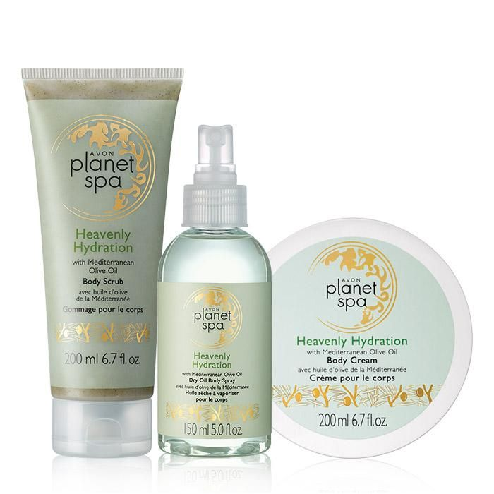 Planet Spa Heavenly Hydration Trio. Avon. Planet Spa features at-home spa collections inspired by luxurious beauty rituals from around the world. Indulge your skin in the Mediterranean beauty secret of ultra-moisturizing olive oil with this body scrub. Regularly $35.  Shop online with FREE shipping with any $40 online Avon purchase.  #Avon #CJTeam #Sale #MediterraneanOliveOil #OliveOil #BathandBody #HeavenlyHydration #PlanetSpa #Avon4Me #C17 Shop Avon online @ www.TheCJTeam.com