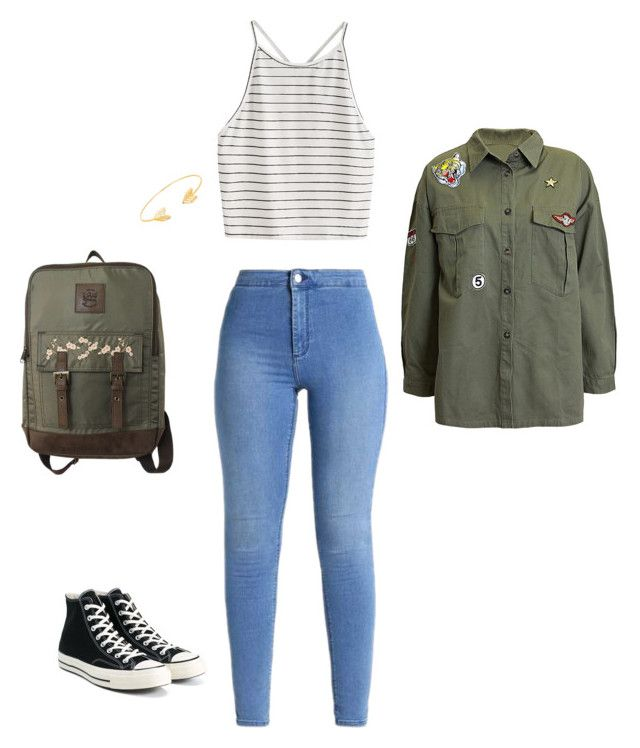 """""""Back to school outfit"""" by thegirlwithstyle1 on Polyvore featuring T-shirt & Jeans, Sans Souci, Converse and Lord & Taylor"""