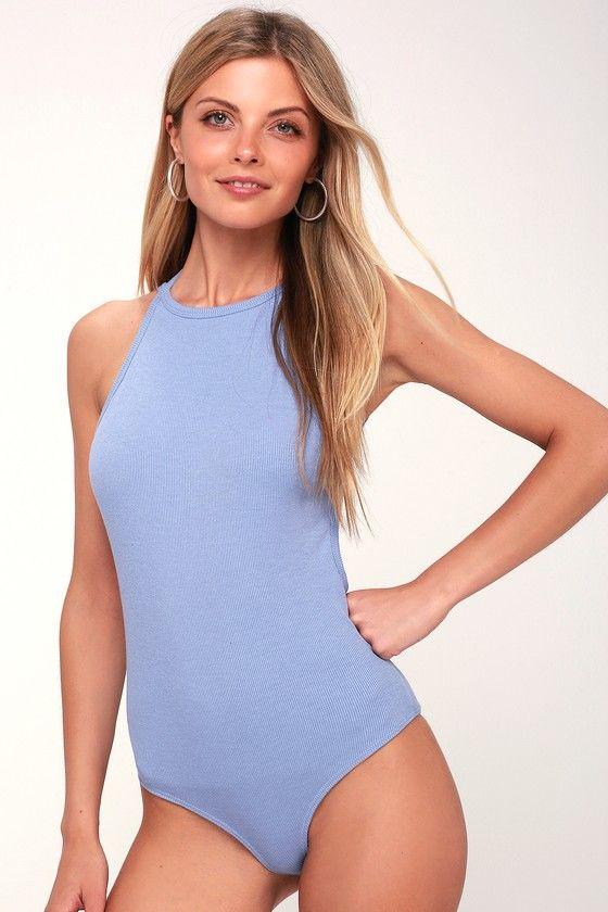 f8c4d3285fd79 Revival Periwinkle Blue Backless Bodysuit