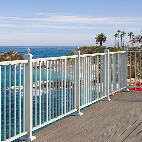 Plastic Decking Prices >> Fortress AL13 Aluminum Deck Railing in Gloss White with ...