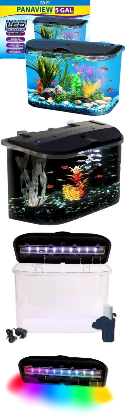 Animals Fish And Aquariums: Starter Aquarium Kit Fish Water Tank With Led Lighting And Power Filter 5 Gallon BUY IT NOW ONLY: $47.09