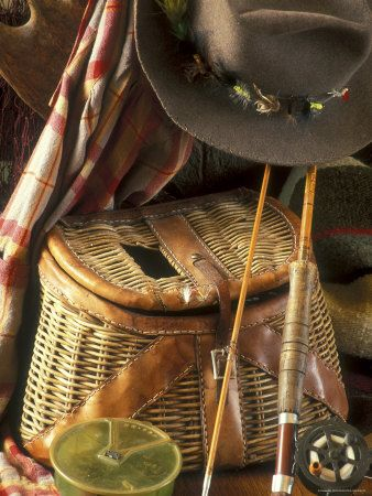 Close-up of Fishing Equipment And a Hat  photo for sale
