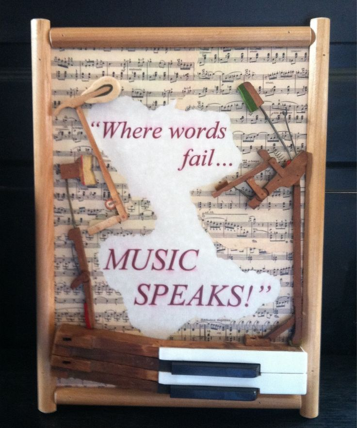 Piche' Design- All Custom Creations (Facebook).  Piano art from repurposed piano parts with vintage sheet music background.