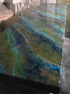 Concrete counter tops!...Rainbow recycled glass.