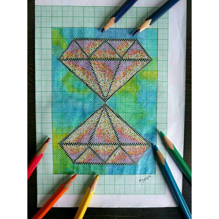 14,000 individually colored pixels #colorpencil #graph #diy