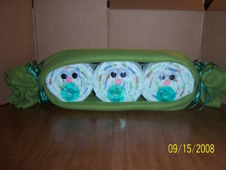 Three Peas In A Pod Diaper Cake Baby Gift Triplets by FunkyMonky, $18.00